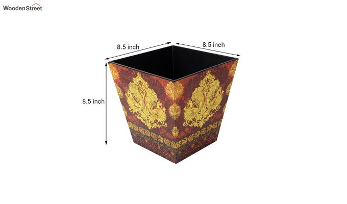 Multicolour Wooden Open Dustbin-5