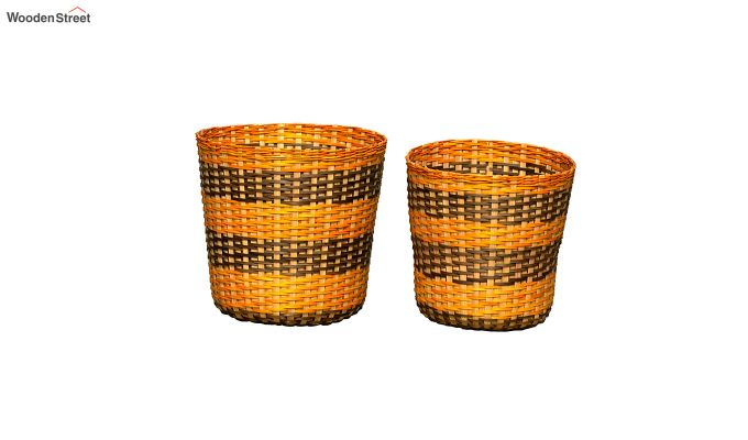 Yellow Brown Bamboo Paper Bins - Set of 2-1