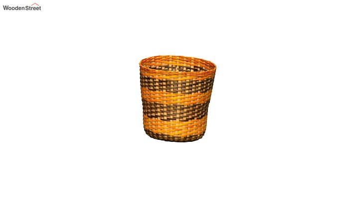 Yellow Brown Bamboo Paper Bins - Set of 2-3