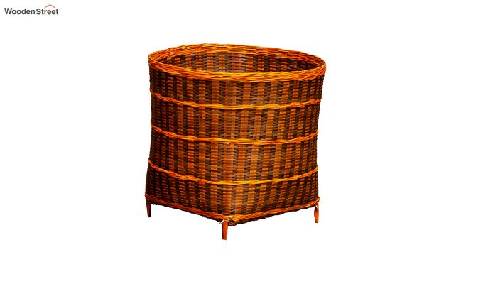 Yellow Brown Multipurpose Small Bamboo Open Bin-1