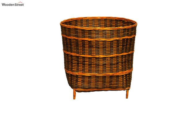 Yellow Brown Multipurpose Small Bamboo Open Bin-3