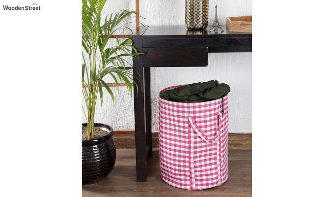 Pink Check Print Cotton Laundry Basket-1