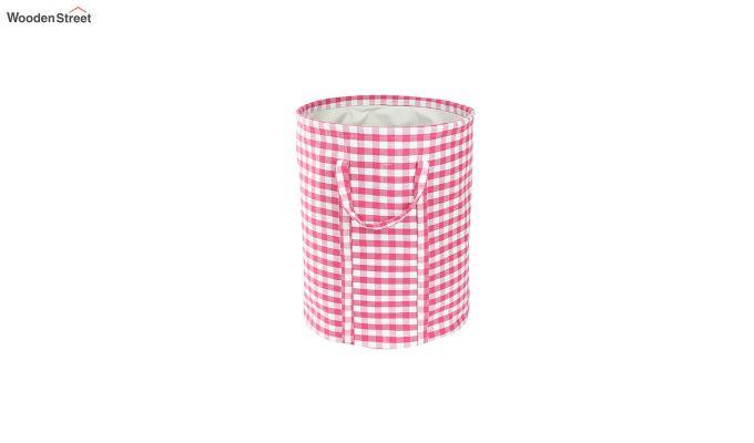 Pink Check Print Cotton Laundry Basket-2