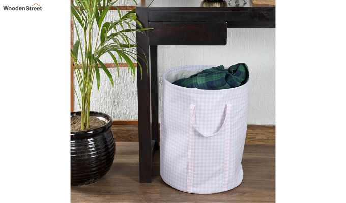Baby Pink Check Print Cotton Laundry Basket-1