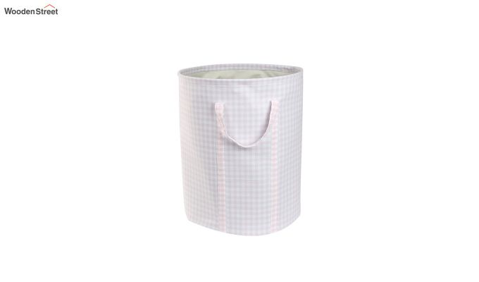 Baby Pink Check Print Cotton Laundry Basket-2