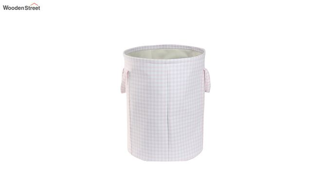 Baby Pink Check Print Cotton Laundry Basket-3