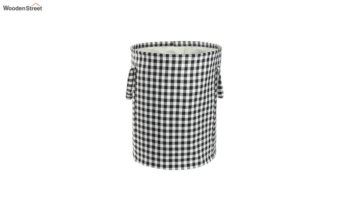 Black Check Print Cotton Laundry Basket-2