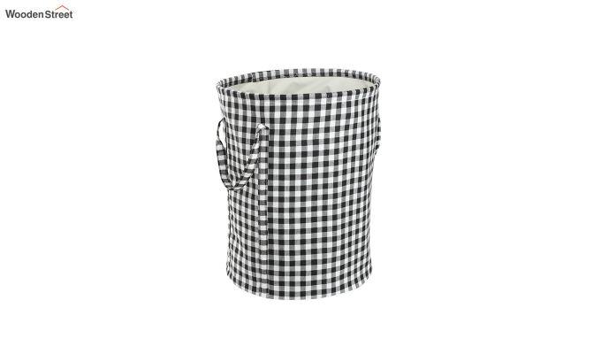 Black Check Print Cotton Laundry Basket-3
