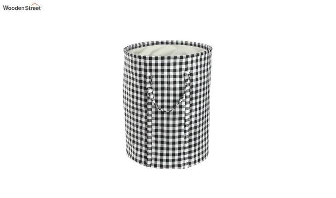 Black Check Print Cotton Laundry Basket-4