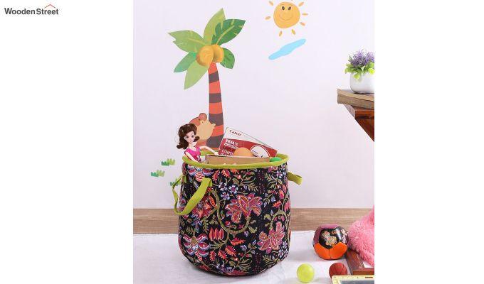 Black Multipurpose Cotton Laundry Basket-1
