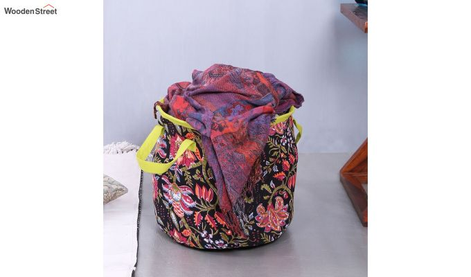 Black Multipurpose Cotton Laundry Basket-2