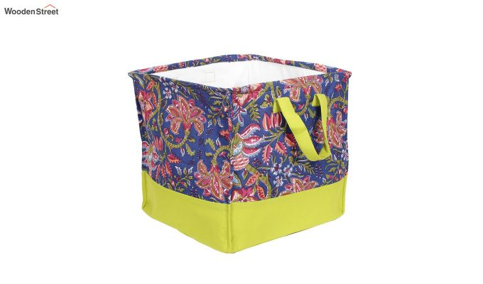 Blue and Green Cotton Multipurpose Laundry Basket-6
