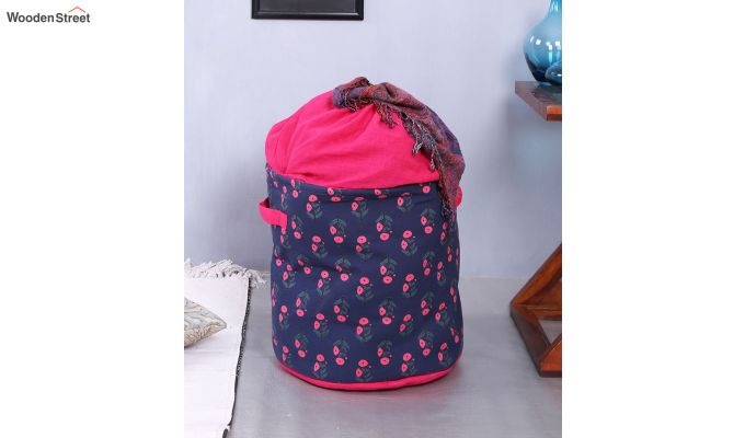 Blue and Pink Multipurpose Cotton Laundry Basket-2