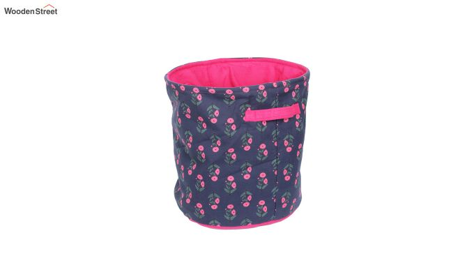Blue and Pink Multipurpose Cotton Laundry Basket-3
