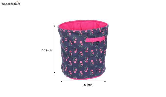 Blue and Pink Multipurpose Cotton Laundry Basket-6