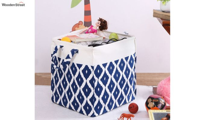 Blue and White Cotton Multipurpose Laundry Basket-1