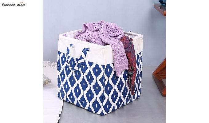 Blue and White Cotton Multipurpose Laundry Basket-2
