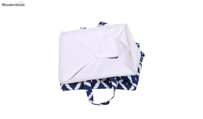 Blue and White Cotton Multipurpose Laundry Basket-3