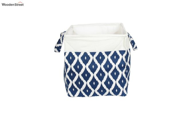 Blue and White Cotton Multipurpose Laundry Basket-4