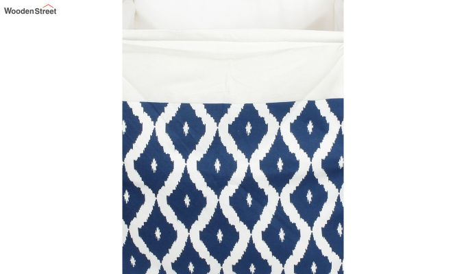 Blue and White Cotton Multipurpose Laundry Basket-5