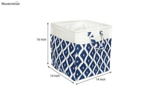 Blue and White Cotton Multipurpose Laundry Basket-6