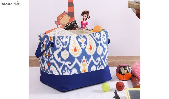 Blue and White Multipurpose Cotton Laundry Basket-1