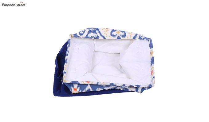 Blue and White Multipurpose Cotton Laundry Basket-2