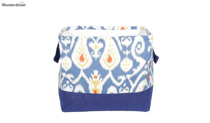Blue and White Multipurpose Cotton Laundry Basket-3