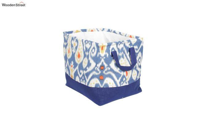 Blue and White Multipurpose Cotton Laundry Basket-5