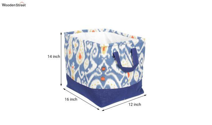 Blue and White Multipurpose Cotton Laundry Basket-6