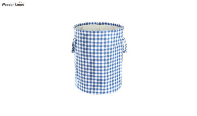 Blue Check Print Cotton Laundry Basket-2