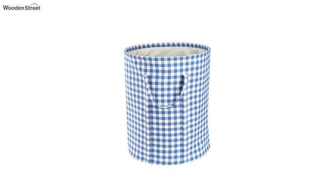 Blue Check Print Cotton Laundry Basket-3