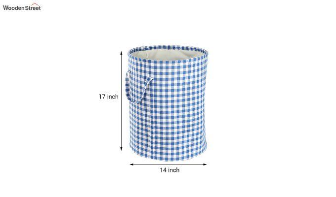 Blue Check Print Cotton Laundry Basket-4