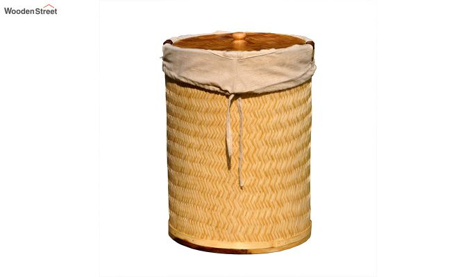 Brown Baliah Bamboo and Wood Laundry Basket-1