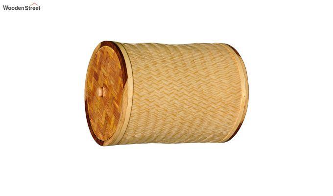 Brown Baliah Bamboo and Wood Laundry Basket-2