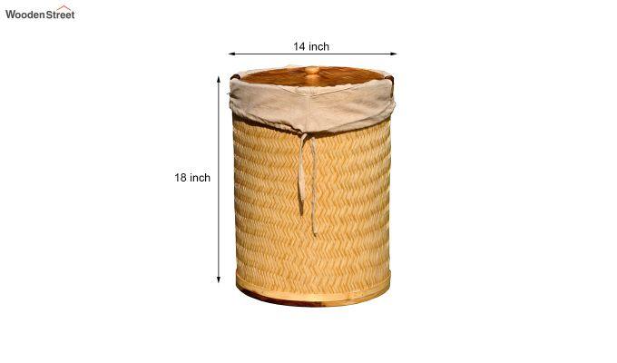 Brown Baliah Bamboo and Wood Laundry Basket-3