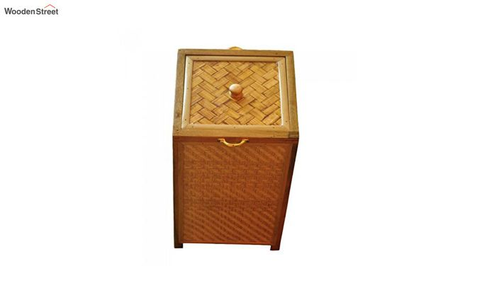 Brown Fabia Bamboo and Wood Laundry Basket-1