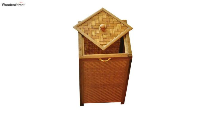 Brown Fabia Bamboo and Wood Laundry Basket-2
