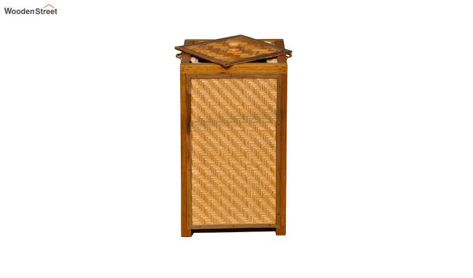 Brown Fabia Bamboo and Wood Laundry Basket-3