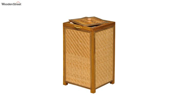 Brown Fabia Bamboo and Wood Laundry Basket-4