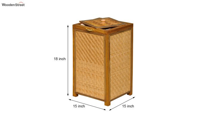 Brown Fabia Bamboo and Wood Laundry Basket-5