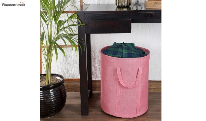 Coral Chambray Laundry Basket-1