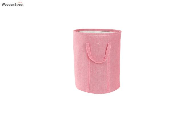 Coral Chambray Laundry Basket-2