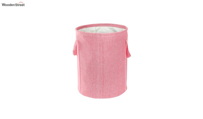 Coral Chambray Laundry Basket-3