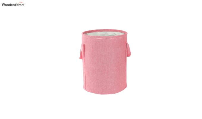 Coral Chambray Laundry Basket-4