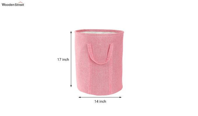Coral Chambray Laundry Basket-5