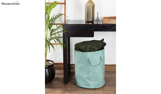 Green Check Print Cotton Laundry Basket-1