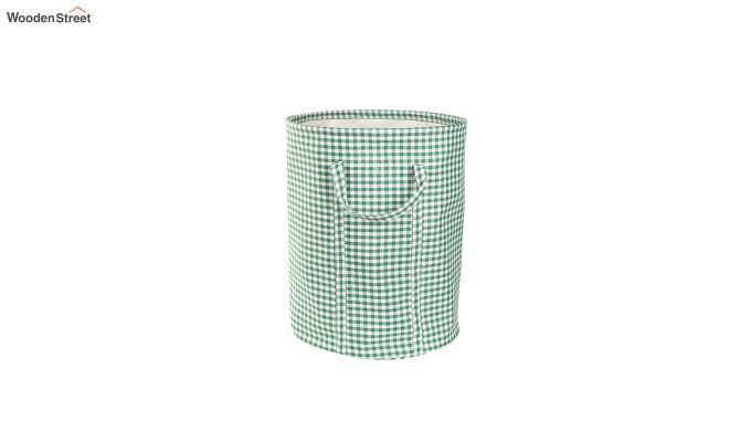 Green Check Print Cotton Laundry Basket-2