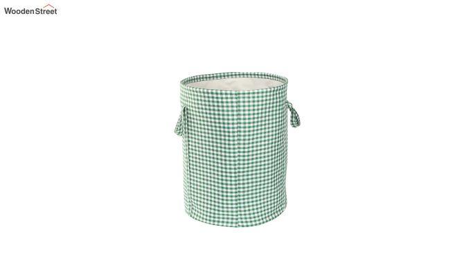 Green Check Print Cotton Laundry Basket-3