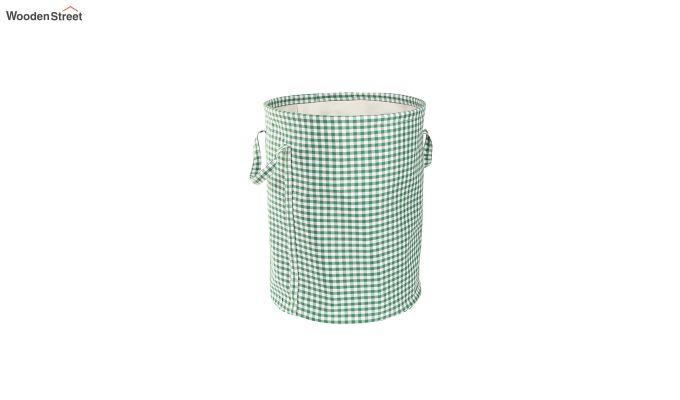 Green Check Print Cotton Laundry Basket-4